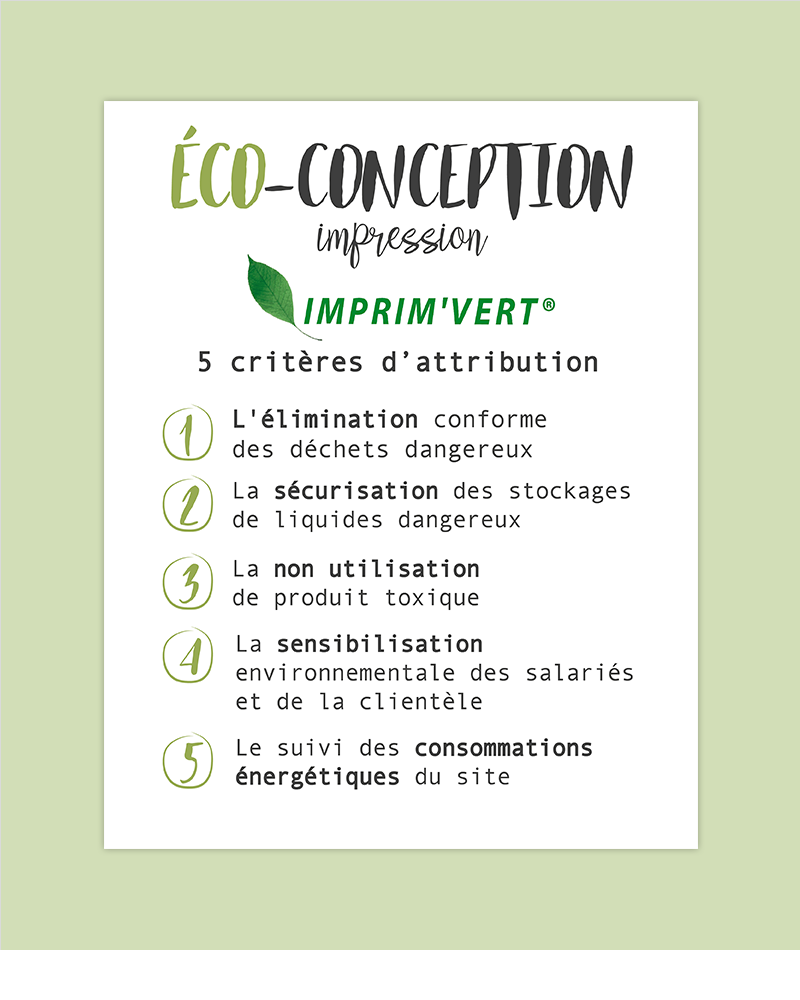 5 critères d'attribution du label imprim'vert