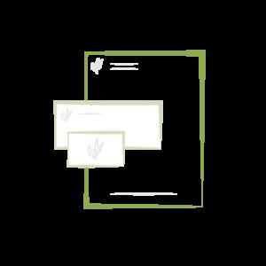 en-tête de lettre, carton de correspondance, carte de visite