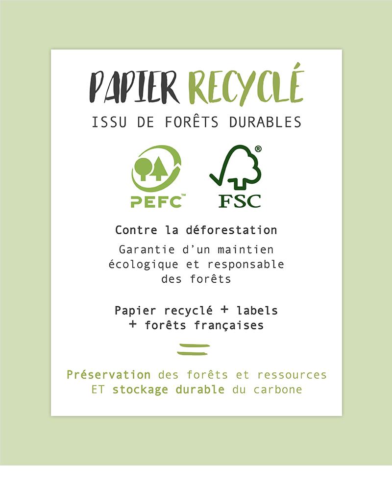 papier recyclé : FSC PEFC forets françaises gérées durablement